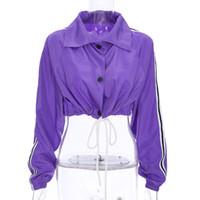 mor bluzlar toptan satış-Ceketler Coats Kadın Ceketler Kadın Giyim Kırpma Üstleri Uzun Kollu Güneş Koruma Katı Mor Bluz Yeni Kış Yaz Ücretsiz Kargo