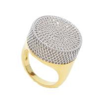 ingrosso grandi anelli mans-2018 nuovo arrivato grande forma rotonda oro hip hop bling ghiacciato gioielli degli uomini bling USA caldo sellilng micro pavimenta cz diamante anello d'oro