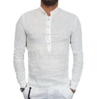 хлопок рубашка с длинным рукавом оптовых-Men'S Shirts Retro V-Neck Japan Style Cotton Linen Button Tops Shirts Long Sleeve Casual Summer Tops 2018 New Fashion