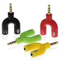 Wholesale Shaped Earphone - U Y Type Headset Adapter Kit U Shape 3.5mm Y Jack Splitter for Audio Earphone and MIC