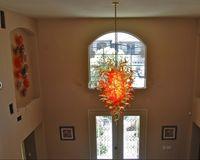 feux de verre d'ouragan achat en gros de-Grand lobby Chine Lustre Plafond Éclairage Brillant Jaune et Orange Couleur Lampe En Verre De Murano Antique Ouragan