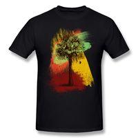 algodón cepillado para hombres al por mayor-La mejor opción hombre algodón tela grunge Palm Tree pinceladas de pintura camiseta hombre cuello redondo negro camisa de shorts para hombre S-6XL camiseta diseño Shi