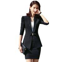 camis largo blanco al por mayor-Conjunto de falda de chaqueta de 3 piezas de Fmasuth Chaqueta de manga larga Blazer + Falda negra + Camis blanco Traje de dama de negocios 111KY9961M