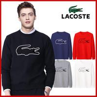 verpackungshülsen großhandel-Der neue Hong Kong Kauf von Französisch schwarz Krokodil Runde Kragen Pullover Baumwolle gedruckt Paare Langarm-Paket