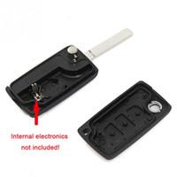 складной ключ кейс оптовых-1 Шт. ABS Uncut Лезвие 3 Кнопки Флип Складной Дистанционный Ключ Чехол Замена Корпуса для Citroen C2 C3 C5 C6 C4 Switchblade ключ