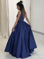 e23a7ce14 Vestidos Longos de Baile Sexy Azul Profundo Decote Em V A Linha Drapeado  Tafetá Backless Até O Chão Vestido de Noite Vestidos de Festa
