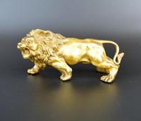 china tierfiguren großhandel-SkulpturCarving Löwen Bronze Gold Fierce Wilde Tiere Figur Lions Statue