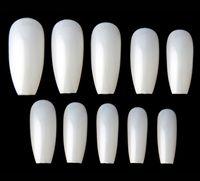 Wholesale nature tips - New 600pcs Ballerina Nail Tips Full Coffin Shape French Fake Nail Professional Nail Art Tip Square Style Nature False Nails Tool