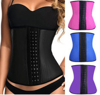 Wholesale latex body pink - Amigas Body Hot Shapers Latex Waist Trainer Women Corsets And Bustiers Sexy Tummy Slimming Shapewear Postpartum Control Girdles
