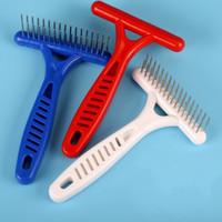 cepillo de pelo de acero agujas al por mayor-Pet Rake Forma Dematting Comb Doble fila de acero inoxidable Needle Cepillo de la preparación de alta resistencia Dog Cat Pelo Hair Shedding Trimmer 1 7ad B