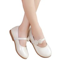 Wholesale square dancing shoes online - New Spring Autumn Children Flowers Girls Kids White Pink Leather Princess Shoes For Teens Teenagers Girls Casual Dance Student Shoes