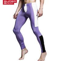 sous-vêtements violets hommes achat en gros de-Sous-vêtements thermiques doux et confortables pour hommes longs sous-vêtements d'automne-hiver pour hommes chauds Leggings Noir, Gris, Violet