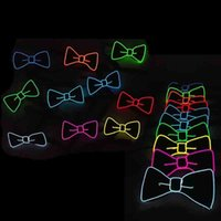 Wholesale Halloween Masquerade Decorations - Universal Luminous Bow Tie LED EL Cold Light Adult Ties For Halloween Masquerade Party Decoration Cravat Hot Sale 20yh B