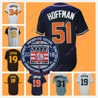 Wholesale Finger Man - Trevor Hoffman Jersey with 2018 Hall Of Fame Patch Tony Gwynn San Diego Cooperstown Jerseys Dave Winfield Rollie Fingers Home Away