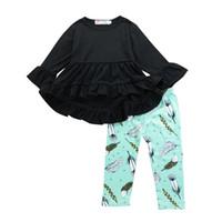пуховые перья оптовых-Весна Kid девушки одежда черный асимметричный топы + перо Брюки 2 шт. Набор наряды оборками с длинным рукавом рубашки дети девушка одежда для малышей 1-6T