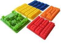 ce yapı toptan satış-5 adet Yapı Tuğlaları Buz Tepsileri 10 Legos Silikon Buz Kalıp Robot Çikolata Kalıp Jöle Pan Silikon Şeker Kalıp Logo Severler