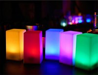Wholesale Candle Light Restaurant - Led charging bar lamp Creative restaurant cafe mobile candle waterproof bar table light on sale mini cuboid colorful indoor lighting