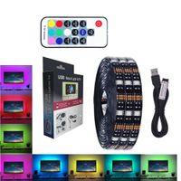 Wholesale dc power mini usb - LED mood light for TV strips light 5V 2M 1M 5050 RGB strip USB powered lighting with mini RF remote 17 key controller