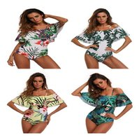 Wholesale swimsuit strapless - Off Shoulder Floral One Piece Bikini Floral Pattern Swimsuit Strapless Bathing Suit Backless Swimwear 4 Colors LJJO3907