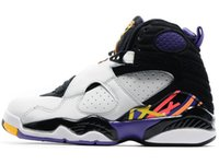 Wholesale chrome table - Basketball Shoes 8 8s Chrome Aqua Black Purple Mens 8s Playoffs Three Peat 2013 Release Sneakers With Shoes Box