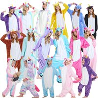 pyjama-kapuzenpulli großhandel-Flanell Einhorn Erwachsene Rainbow Unicorn Strampelanzug Cartooon Hoodies Roben Tier Pyjamas Pyjama Jumpsuit Cosplay Kostüm GGA928