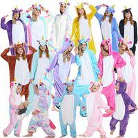trajes de animales al por mayor-Franela Unicornio Adulto Rainbow Unicornio traje de onesie Cartooon Sudaderas con capucha pijamas de animales pijama Mono cosplay traje GGA928