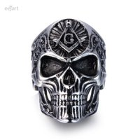 Wholesale Wholesale Masonic Rings - eejart Stainless Steel Masonic skull ring Punk Man's High Quality Personality Men's Ring