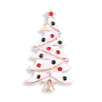 china branca da árvore de natal venda por atacado-Pinos de broches de árvore de Natal de esmalte branco com cristal para mulheres Homens crianças feliz natal presente distintivo de strass Whloesale bonito Broche