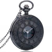 steampunk-taschenuhr rund groihandel-Weinlese-Charme-schwarze Unisexmode-römische Zahl-Quarz-Steampunk-Taschen-Uhr-Frauen-Mann-Halsketten-Anhänger mit Ketten-Geschenken