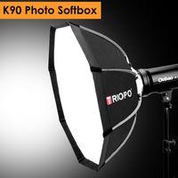 softbox video toptan satış-Triopo 90 cm Fotoğraf Taşınabilir Açık Bowens Dağı Sekizgen Şemsiye Yumuşak Kutu ile Stüdyo için Taşıma Çantası Video Fotoğrafçılığı Softbox