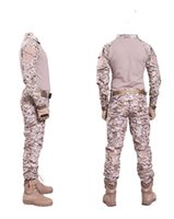 Wholesale army camo uniforms online - Desert digital camo Hunting Clothes with Knee pads Combat uniform Tactical gear shirt and pants Army BDU set