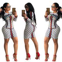 bodycon negro largo que adelgaza el vestido al por mayor-Las mujeres imprimieron el vestido ajustado de moda de manga larga discoteca vestido sexy rojo a rayas de impresión vestido delgado negro blanco colores S-XL