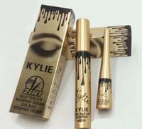 Wholesale eyelash extension eyeliner - kylie jenner cosmetics Makeup 3D Fiber EyeLashes Extension Mascara+ Gel Eyeliner 2 in 1 Sets Waterproof Free Shipping