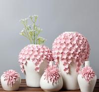 ingrosso decorazioni di fiori grande vaso-ceramica rosa fiori margherita vaso home decor grandi vasi da terra per la decorazione di nozze figurine di porcellana di artigianato in ceramica