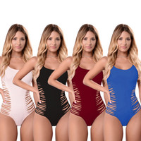 Wholesale Sexy Elastic Jumpsuits - Summer Eur Design Broken Lines Sexy Jumpsuits Women Solid High Elastic Smooth Material Clothing Female Skinny Rompers