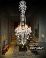 velas de luminária venda por atacado-Grande escada longa hotel luxo lustre de cristal moderno longo K9 Lobby hotel lustres de cristal luminária lustre de vela