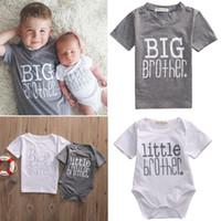 bébés garçons peu gros achat en gros de-Famille vêtements assortis bébé enfants t-shirt barboteuse pour garçon fille petit frère grand frère petite soeur grande soeur coton bébé combinaisons