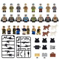 военное оружие оптовых-WW2 армия морской флот солдаты с оружием рисунок набор военных мини строительный блок игрушка рисунок