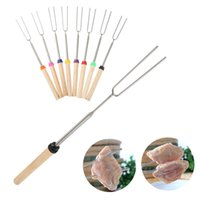 Wholesale telescope free shipping for sale - 3pcs Camping Campfire corn Hot Dog Telescoping Barbecue Roasting Fork Sticks Skewers BBQ forks random color