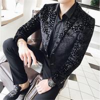 blazers de terciopelo para hombre al por mayor-Tang cool 2018 Nueva llegada Mens Velvet Blazers Floral vestido de fiesta Blazers Casual Blazer y traje