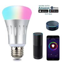 Wholesale Wifi E27 Smart LED Light Bulb Works with Amazon Alexa Google home voice control Dimmable Multicolored W K RGB smart illumination