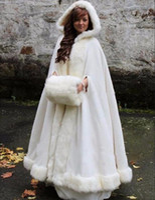 ingrosso cappuccio con cappuccio navy-Copricapo da sposa bianco / avorio con mantella da sposa con cappuccio in pelliccia sintetica caldo inverno per adulti inverno avvolge / mantelle / poncho