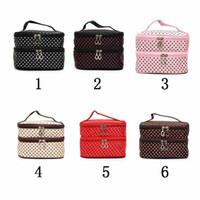 ingrosso sacchetto di trucco doppio strato-Tote bag a doppio strato coreano dot tote bag per cosmetici da trucco e organizer da viaggio