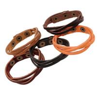 pulsera de moda infinito al por mayor-Pulsera de cuero de moda Pulseras de múltiples capas botón pulsador brazalete brazalete para mujeres hombres pulsera Infinito 5 colores