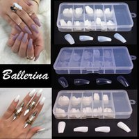 decorar las uñas al por mayor-100 unids / caja Nueva Bailarina Fake Nails Consejos Uñas Uñas Completas Artificial French Fake Nail Tip Salon Decorado Transparente Falso Nail