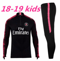 Wholesale paris kids - PSG tracksuit new 2018 2019 Paris soccer Training suit KIDS tracksuits 18 19 MBAPPE LUCAS maillot de foot KIDS jacket kit
