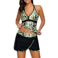 d063c908537 Womens Print Tankini Tops Two Piece Swimsuit With Skirted Bottom Plus Size  Swim Dress Set sporty-style swim Bikini Set Beach Diving Suit