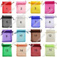 Wholesale Gauze Jewelry Bags - 7cm*9cm Organza Sheer Gauze Element Jewelry Bags Packing Drawable Organza Bags Wedding Gift Bags Sachet Organza Transparent Gauze Bag