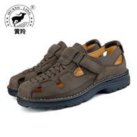 hakiki sandal erkekler toptan satış-Boyutu 38-44 HUANGLING Yeni Varış Erkekler sandal Nefes HookLoop yaz Plaj Ayakkabı Hakiki deri