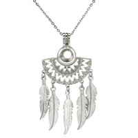 Wholesale filigree locket pendant necklace for sale - Native Half Moon Beaming Sun Fan Shapes Filigree Dangle Feather Beads Pearl Cage Necklace inch